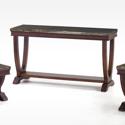 Image of Obliq Verona Rectangular Console Table with Marble Top in Antique Walnut (LCB998CNWABA / LCB998CNGRTO)