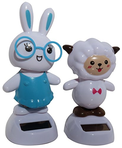 Solar Powered Dancing Easter Bunny Geek Nerd Glasses and Lamb 2 Piece Set Car Dashboard Office Desk