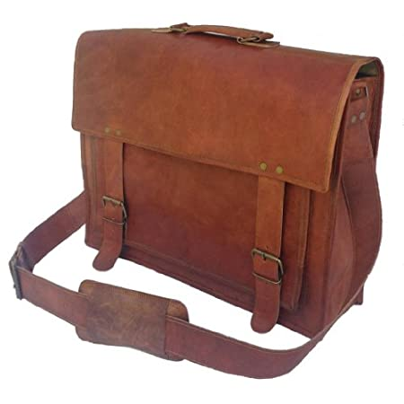 Handcrafted Vintage Inspired Leather Messenger Bag Dimensions (WxHxD): 18 x 13 x 6 in Color: Brown Features: ¥ Front flap with double buckle fastenings ¥ Can Fit up 17.6 Inch Laptop ¥ One large inner compartment, two small inner compartment, two inne...