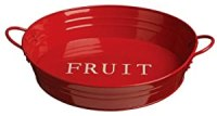 Premier Housewares Round Fruit Bowl with Handles, Red ...