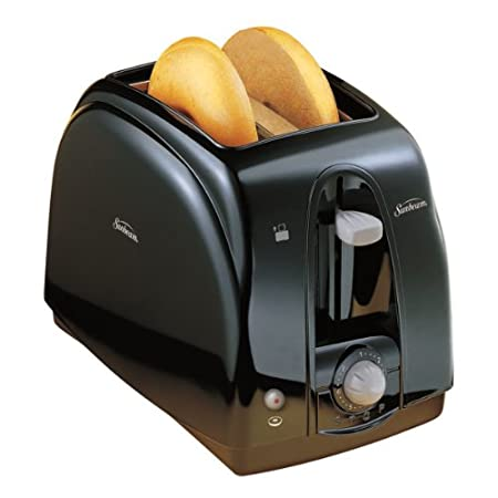 Equipped with two extra-wide slots, this convenient toaster from Sunbeam accommodates breakfast bagels, thick or thin slices of bread for toast, English muffins, hamburger buns, frozen waffles, and more. Dual auto-adjusting bread guides adjust to the...