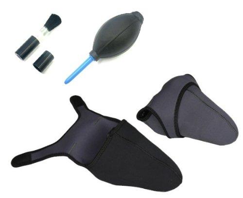 一眼レフカメラ専用 カバー・ケース  ブラックとグレーのリバーシブル仕様 アクセサリ For Nikon(ニコン) Canon(キャノン) Pentax(ペンタックス) Sony(ソニー) 衝撃や防水・防熱などに優れたネオプレーン・ウェットスーツ素材使用!今ならお得な清掃・クリーナーグッズ(シリコンブロアー・ブラシ)2点付き! サイズ:L