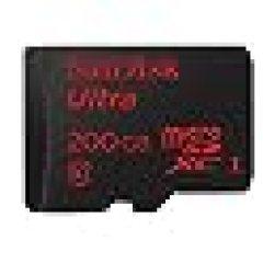 SanDisk SDSDQUAN-200G-G4A Ultra Android Scheda di Memoria microSDXC da 200 GB UHS-I Classe 10 con Adattatore SD con Velocità di Lettura Fino a 90 MB/s