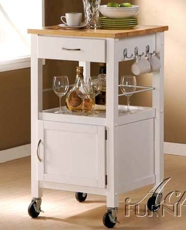 Image of Acme Natural Top/White Kitchen Cart (VF_AMAM2703)