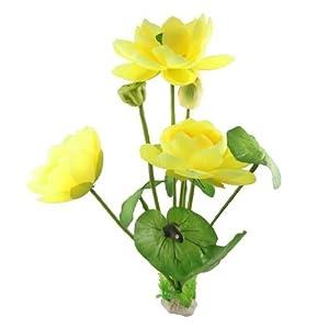 Amazon.com : Water & Wood Fish Tank Yellow Fabric Lotus Green Leaf