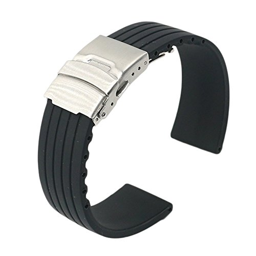 22mm-Waterproof-Silicone-Rubber-Watch-Strap-Band-Deployment-Buckle-for-Pebble-Time-SteelClassicZenWatchSamsung-Gear-2-G-Watch-Good-for-Sporting