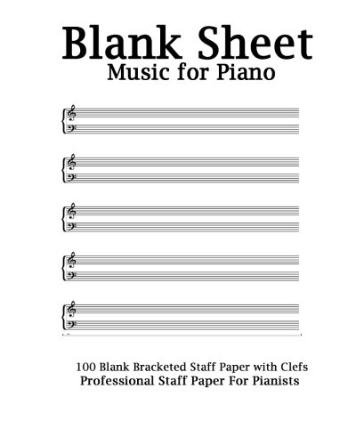 Blank Sheet Music For Piano White Cover, Bracketed Staff Paper