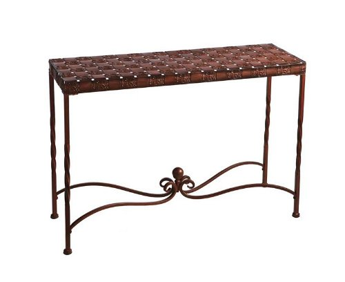 Image of Entryway Console Table Woven Table Top in Rustic Sunset (MW246573)