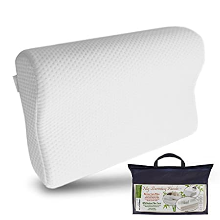 This luxuriously medium-soft neck pillow can help sleep better every night. See images above. It features an ergonomic contoured shape that gently supports your neck, and correctly aligns your head and spine so you're not tossing and turning. The pil...