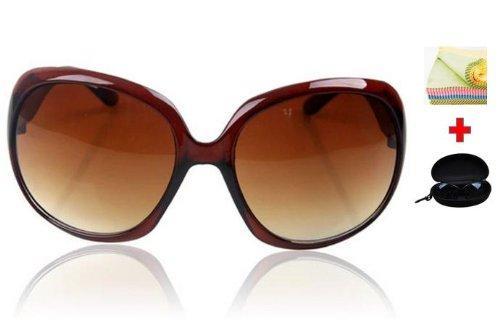 JapaNice レディース ブランド 【 かわいい UVカット 偏光 サングラス ブラウン 豪華3点セット 】 UV400 採用で 紫外線 99.9%カット 花粉 花粉症 にも有効 SA-001BR