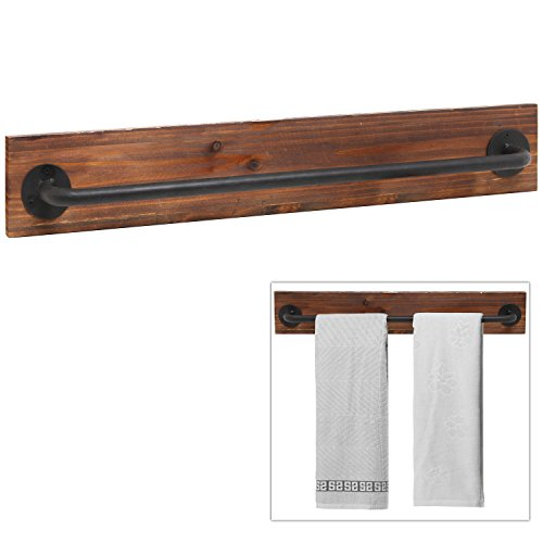 Holz Handtuchhalter Rustic Wood Metal Wall Mounted Towel Bar Hanging Rod