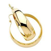 Amazon.com: 14k Yellow Gold Bangle Hoop Earrings (35mm ...
