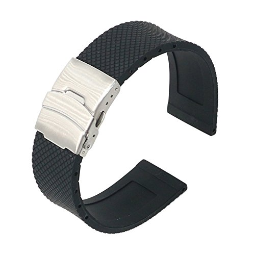22mm-Waterproof-Silicone-Rubber-Watch-Strap-Band-Deployment-Buckle-for-Pebble-Time-SteelClassicZenWatch-G-Watch-Good-for-Sporting-Silicone-XWFree-GiftMobile-Phone-Ring-Stand