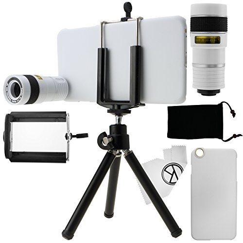 CamKix Camera Lens Kit for iPhone 6 Plus / 6S Plus including 8X Telephoto Lens / Mini Tripod / Phone Holder / Hard Case / Velvet Bag / Microfiber Cleaning Cloth - Awesome Accessories and Attachments