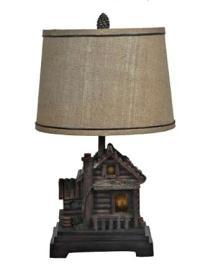 Rustic Cabin Dick Idol Table Lamp with Night Light ...