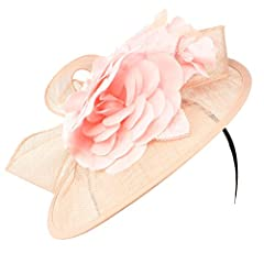 Fancy Disc Sinamay Derby Floral Ribbon Headband Fascinator Millinery Church Pink
