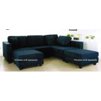 Amazon.com - Sectional Sofa with Block Feet in Navy Blue ...
