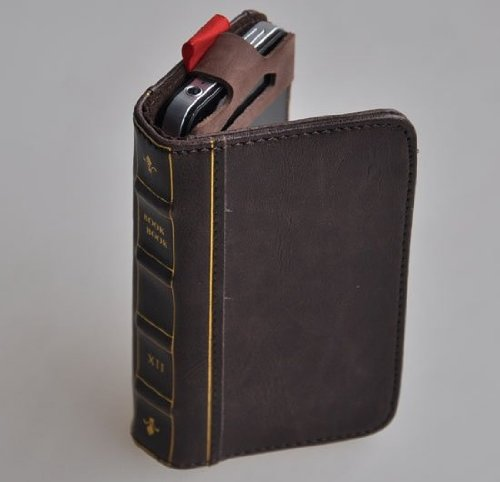 iPhone5 レザーケース 古い洋書風 Book Bookケース 液晶保護シート付き