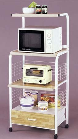 Image of Kitchen Microwave Cart with Electric Socket Ivory Finish (VF_AZ00-42296x21507)