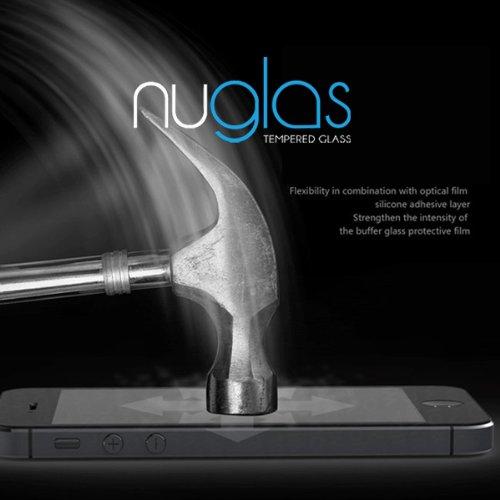 nuglas 強化ガラス液晶保護フィルム iPhone5,5C,5S用強化保護フィルム 衝撃吸収 硬度9H 液晶保護シール 気泡ゼロ カッターでも傷つかないオリジナル充電ケーブル付き