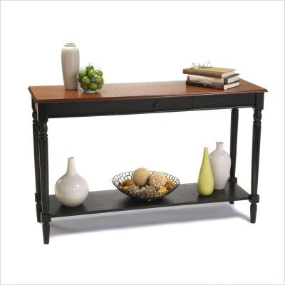 Image of French Country Console Table in Cherry and Black Finish (R3-0110)
