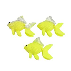 Floating Yellow Plastic Goldfish Aquarium Fish Tank Ornament 3 Pcs