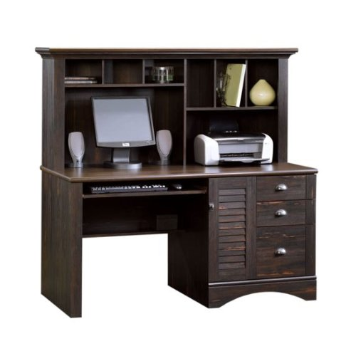 Picture of Comfortable Harbor View Computer Desk with Hutch in Antiqued Paint (B003UIS4CU) (Computer Desks)