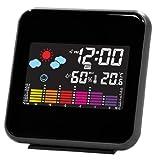 ADESSO 目覚まし時計 天気予報クロック デジタル表示 LEDカラー 温度・湿度表示 ブラック PSC-602