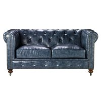 "Leather Sofa: Gordon Tufted Loveseat, 32""HX66""WX38.2 ..."