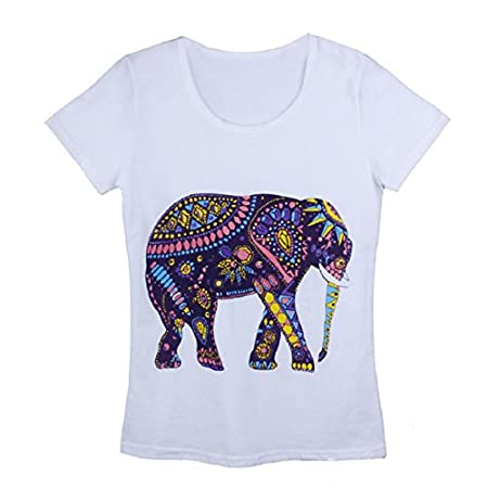 Specifications: • Gender:Women • Size:Free • Material:Cotton fibre • Color:White • Sleeve Style:Short sleeve • Style:Fashion,Casual • Pattern type:Elephant • Decoration:None • Collar:O-neck • Type version:Loose • Season:Summer