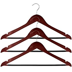 Amazoncom Evelots Wooden Hanger Set With Non Slip Pvc