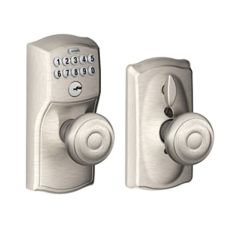Schlage FE595 CAM 619 GEO Camelot Design Keypad Entry with Georgian Knobs, Satin NickelWhen you install Schlage products, you know your home is secure. After all, we're the leader in security devices, trusted for more than 85 years. When you safeguar...