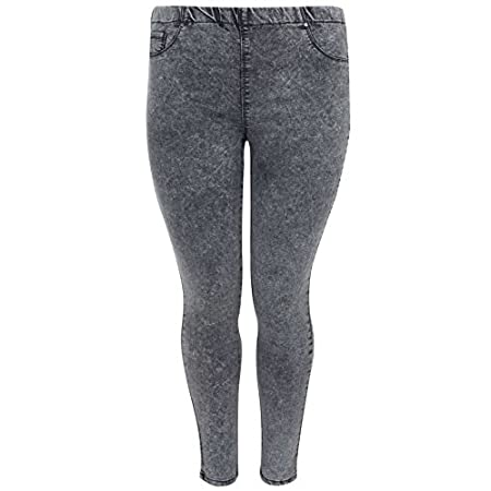 Plus size grey acid wash denim jegging with an elasticated waistband for easy fit! These jeggings have faux stitched pockets to the front, functional back spade pockets and chunky stitch detail. Made with 72% cotton for extra comfort and 2% elastane ...