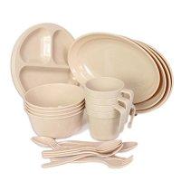 Wealers Plastic Reusable Dishes Set, Outdoor Dinner ...