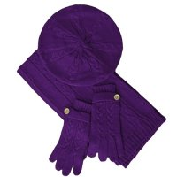 knitted scarf: Purple Cable Knit Tami Beret Hat Scarf ...