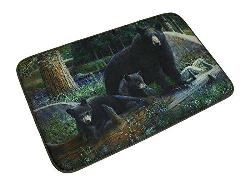 Realistic Black Bear Family Bath Mat