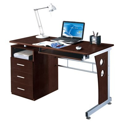 Picture of Comfortable Mad Tech 30x22.75x47.25 Chocolate Mdf Panel & Steel Frame Computer Office Desk Table (B004W0MIHW) (Computer Desks)