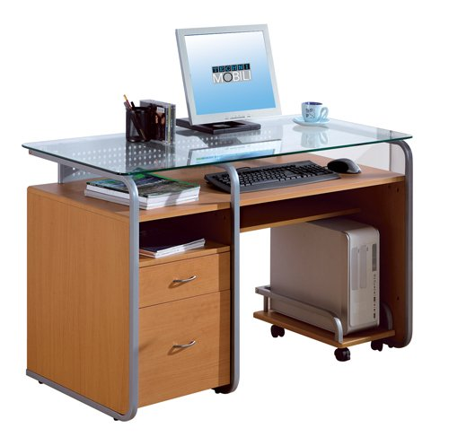 Picture of Comfortable Mad Tech 30x24x48 Dark Honey Mdf Frame & Glass Top Computer Office Desk Table (B004W0MHIC) (Computer Desks)