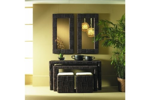 Image of Padma's Plantataion Nesting Console Table, Abaca Twist, Set of 2 with 2 Stools (NES07-ABSSET)