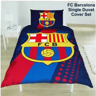 FC Barcelona Stripe Double Duvet Cover & Pillowcase Set Images - Frompo