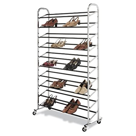 A chrome shoe tower capable of holding 50 pair of shoes is the answer to your shoe storage needs. It is easy to assemble and is made of durable chromed metal. It boast 10 tiers of non-slip tubes to hold your shoes and has durable wheels for easy mobi...