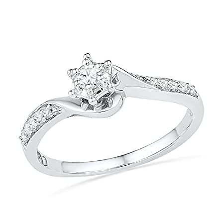 10KT White Gold Round Diamond Twisted Promise Ring (1/6 cttw)