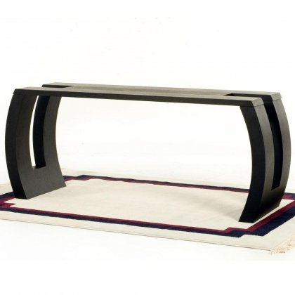 Image of Low Profile Two-Tone Rectangle Console Table with Hand Carved Detail (S0611S)