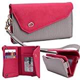 NuVur :: Universal Textured All-in-One Wallet Clutch Smartphone Wristlet Fits Huawei Ascend W2-T00, W2-U00, W2-U00 NA, Y511, Y511-T00, Y511-U00, Y520, STREAM X GL07S Grey/Fuchsia