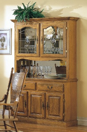 Image of Country Style Solid Oak Wood Dining Room Buffet with Hutch (VF_AZ00-28202x28723)
