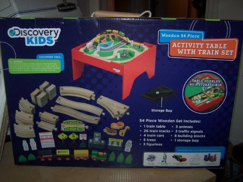 Discovery Kids Wooden 54 Piece Activity Table With Train