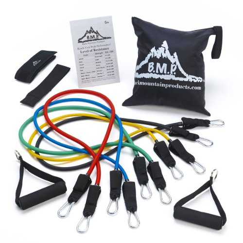 Black Mountain Products Resistance Band Set with Door Anchor, Ankle Strap, Exercise Chart, and Resistance Band Carrying Case