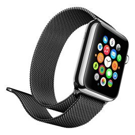Lumina-Apple-Watch-Band-with-Magnetic-Lock-Lumina-Milanese-Style-Watch-Loop-Stainless-Steel-Bracelet-Strap-Band-No-Buckle-Required-Black