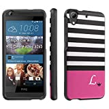 HTC Desire 626 / 626S Case, [SkinGuardz] Black Form Fit Fancy Protection Case - [Black Pink Stripe L Monogram] Print Design