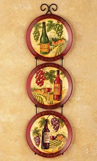 Set of 3 Decorative Wine Vineyard Plates & Metal Hanging ...